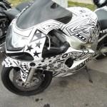 Customa painted motorcycle at Dulano's Pizza