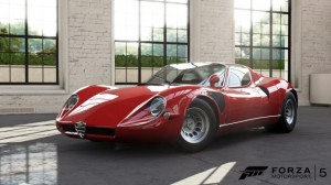 The Forza 5 Smoking Car Pack - showing off the mid-engined 1968 Alfa Romeo 33 Stradale coupé.