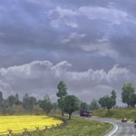 Euro Truck Sim 2 - driving through fields.
