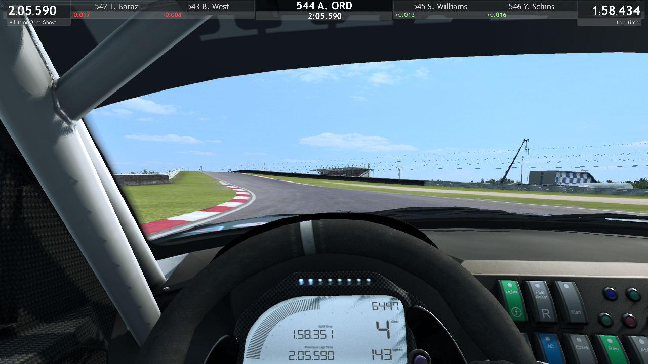 Approaching a crest in RaceRoom's Slovakia Ring