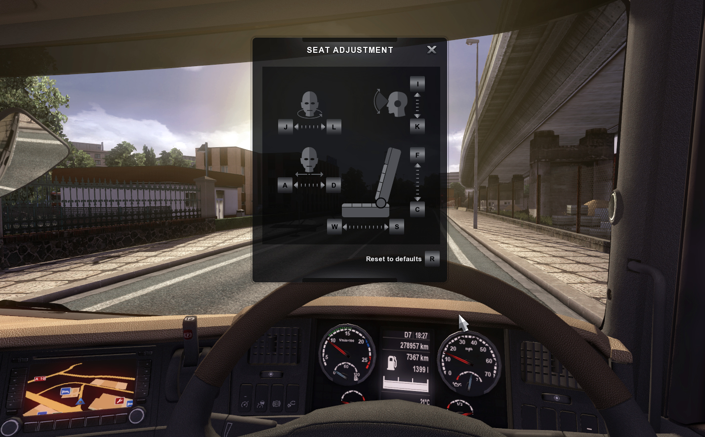 Euro Truck Sim 2 June 2014 seat adjustment UI