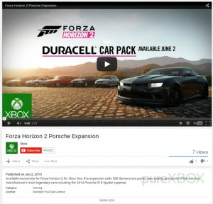 Microsoft leak Forza Horizon 2 Porsche Pack with wrong description for Duracell Car Pack video
