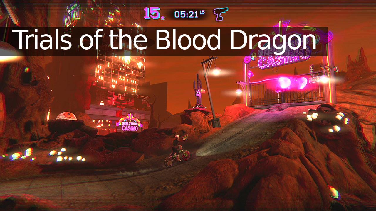 Trials of the Blood Dragon bar casino neon