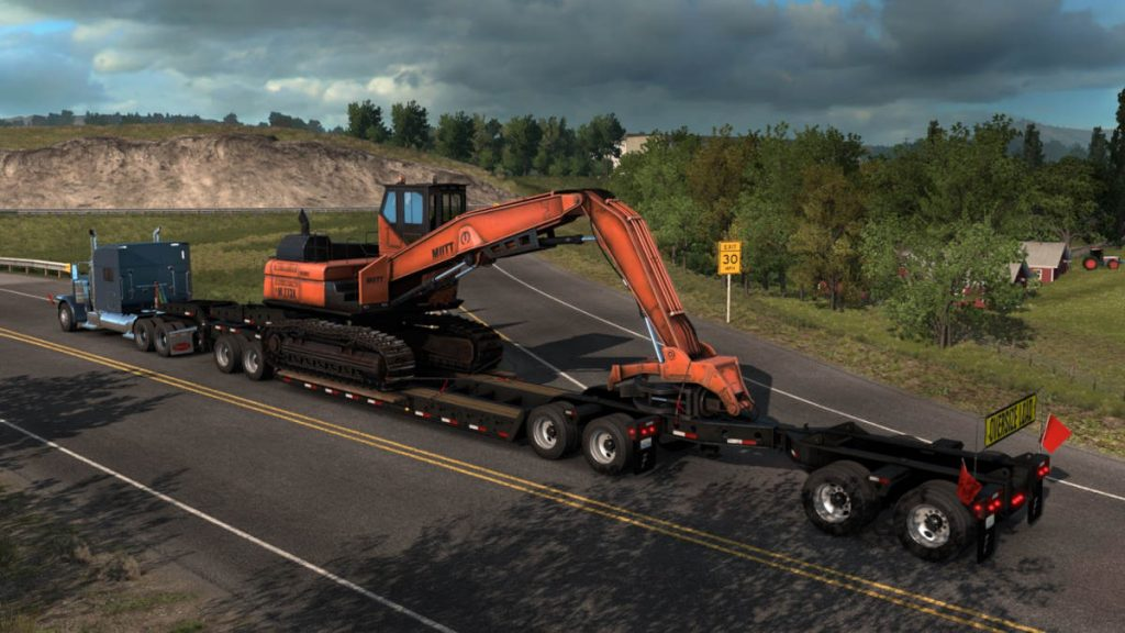 The American truck Simulator Forest Machinery DLC introduces lots of specialised equipment