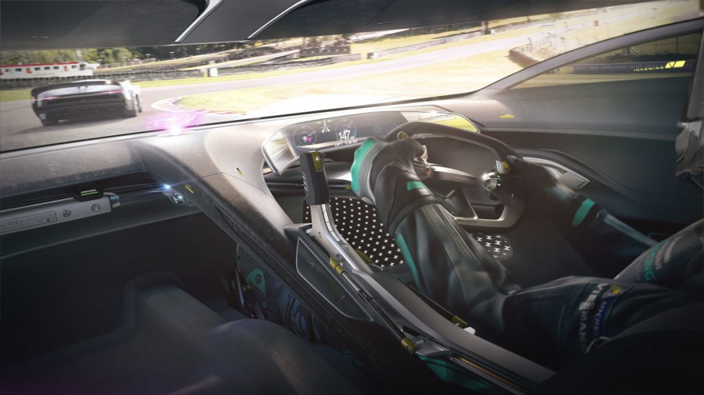 The cockpit of the Jaguar Vision Gran Turismo Coupe