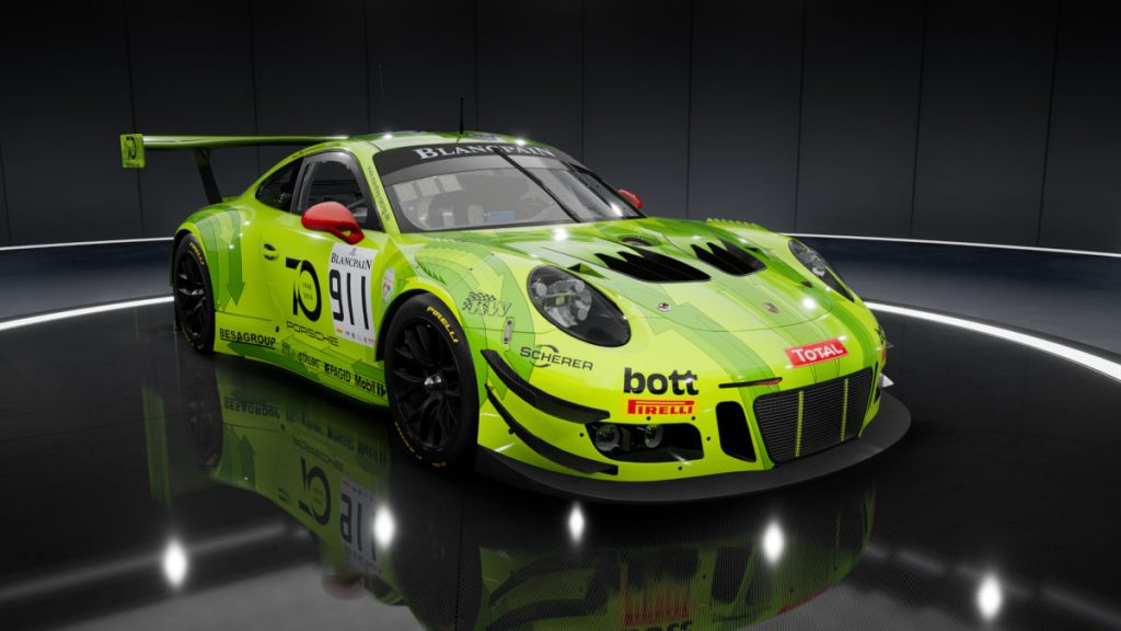Assetto Corsa Competizione Car List - the Blancpain GT Series 2018 Porsche 991 GT3 R