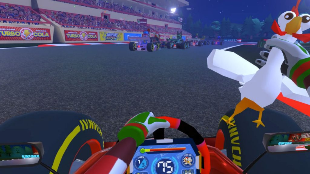 Touring Kart racing in VR involves racing, and chickens...