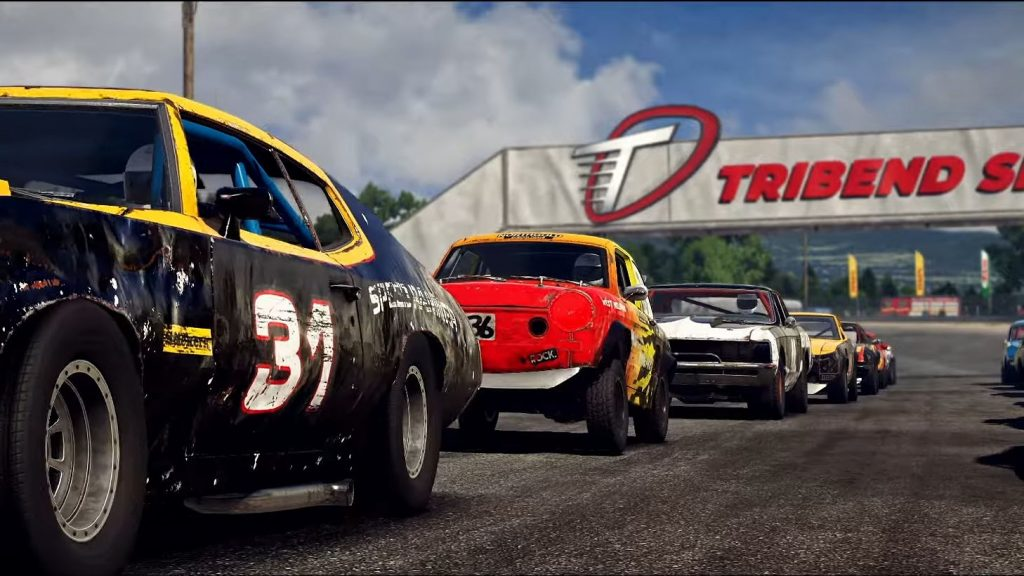 The free February Wreckfest update adds 2 new tracks. One of which is Tribend Speedway
