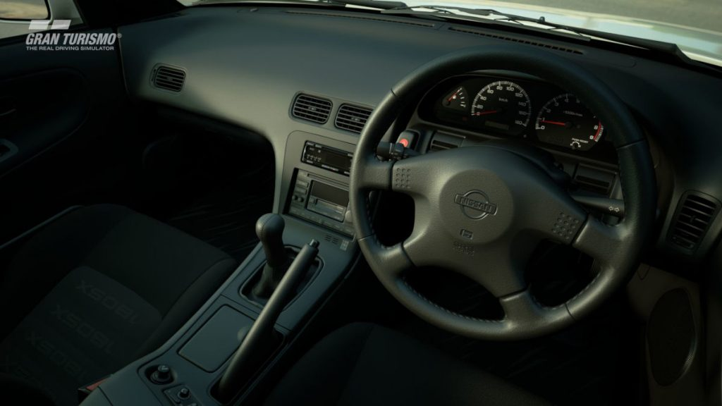The interior of the 1996 Nissan 180SX in Gran Turismo Sport