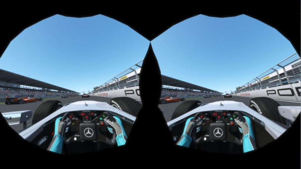 This is how the new Hidden Area Mask in rFactor 2 saves rendering parts of the game that you can't see. Example is using the Vive Pro.