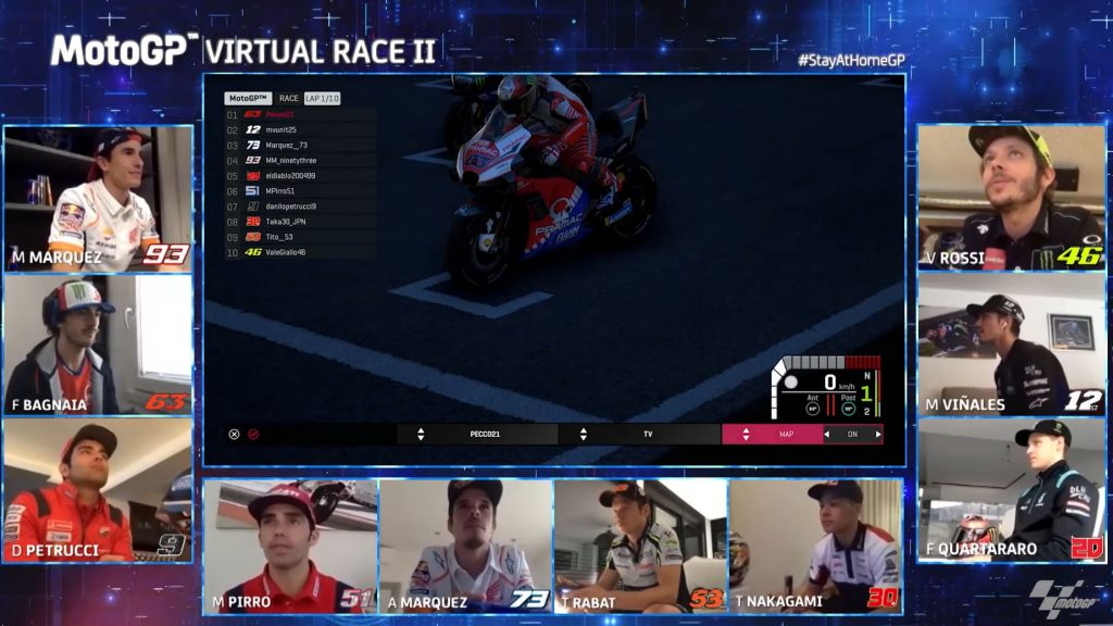 MotoGP Virtual Race 2 saw Marc Marquez and Valentino Rossi meet in virtual racing for the first time