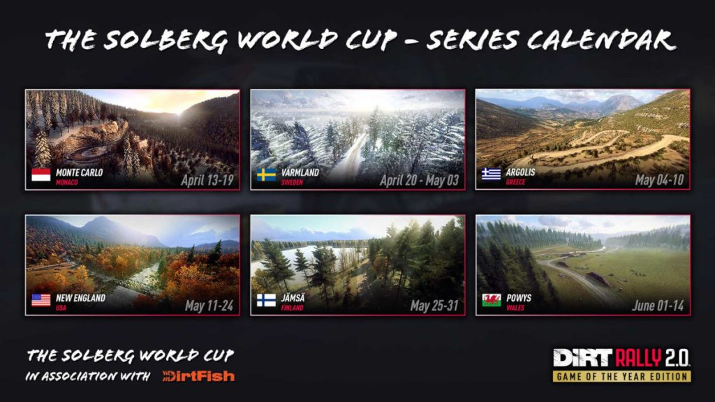 The Solberg World Cup Series Calendar