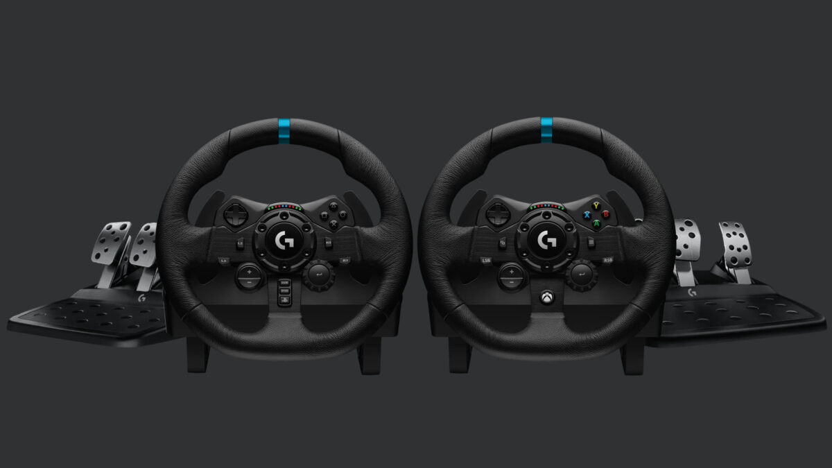 The Logitech G923 PlayStation and Micrsoft versions side-by-side