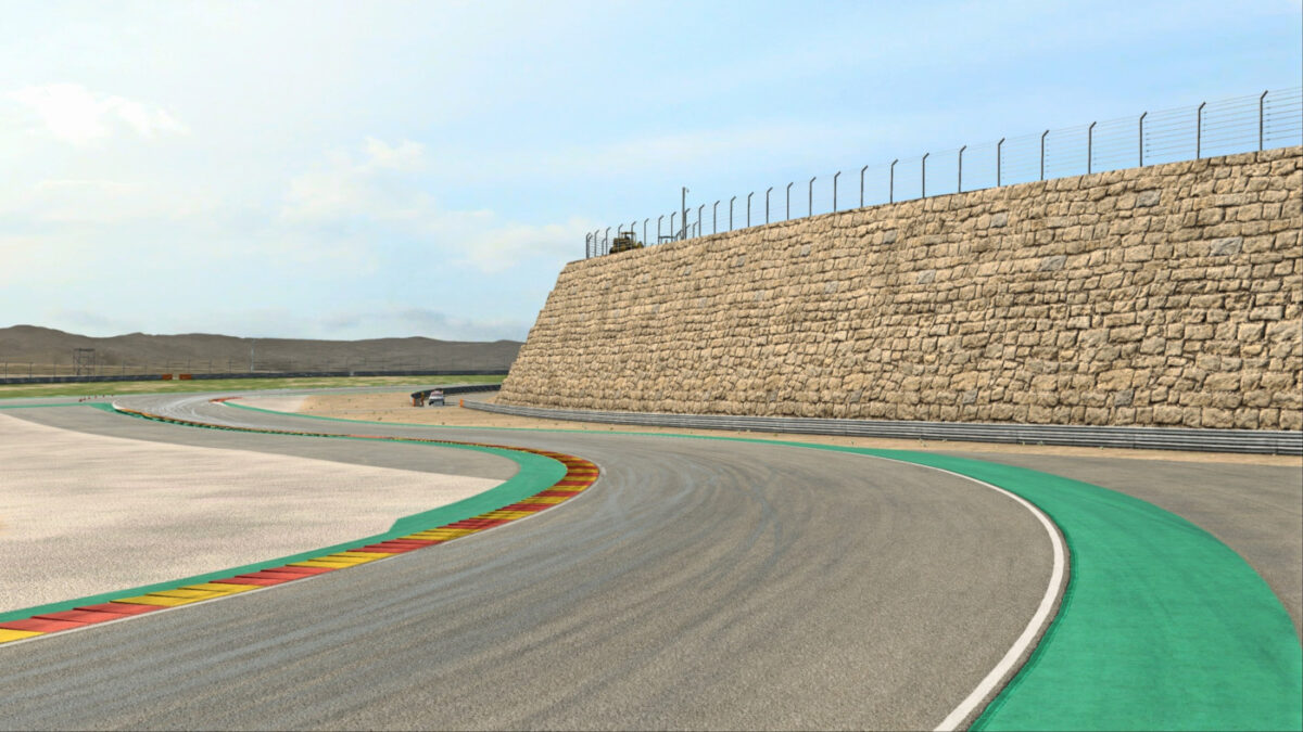 The large stone wall is one of the notable features at Motorland Aragon