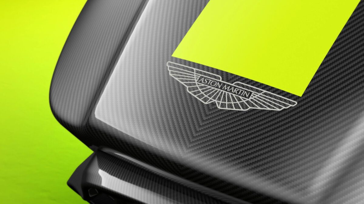 The famous badge adorns the sim rig designed by Aston Martin