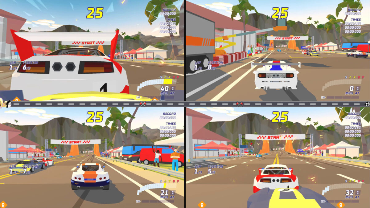Hotshot Racing includes 4-player split-screen local multiplayer