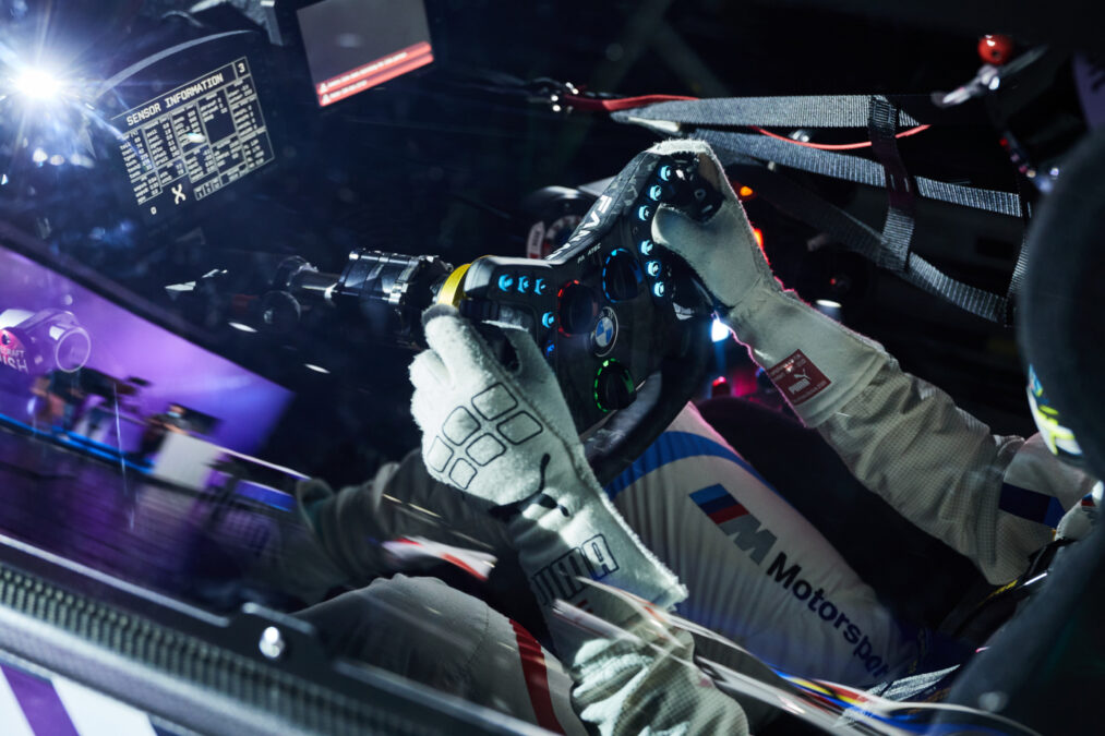 Just take the new Fanatec Podium Steering Wheel BMW M4 GT3 from your race car, and plug it into your sim rig...