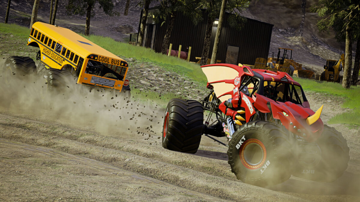 The sort of racing action you'll really only see in a game like Monster Jam Steel Titans 2
