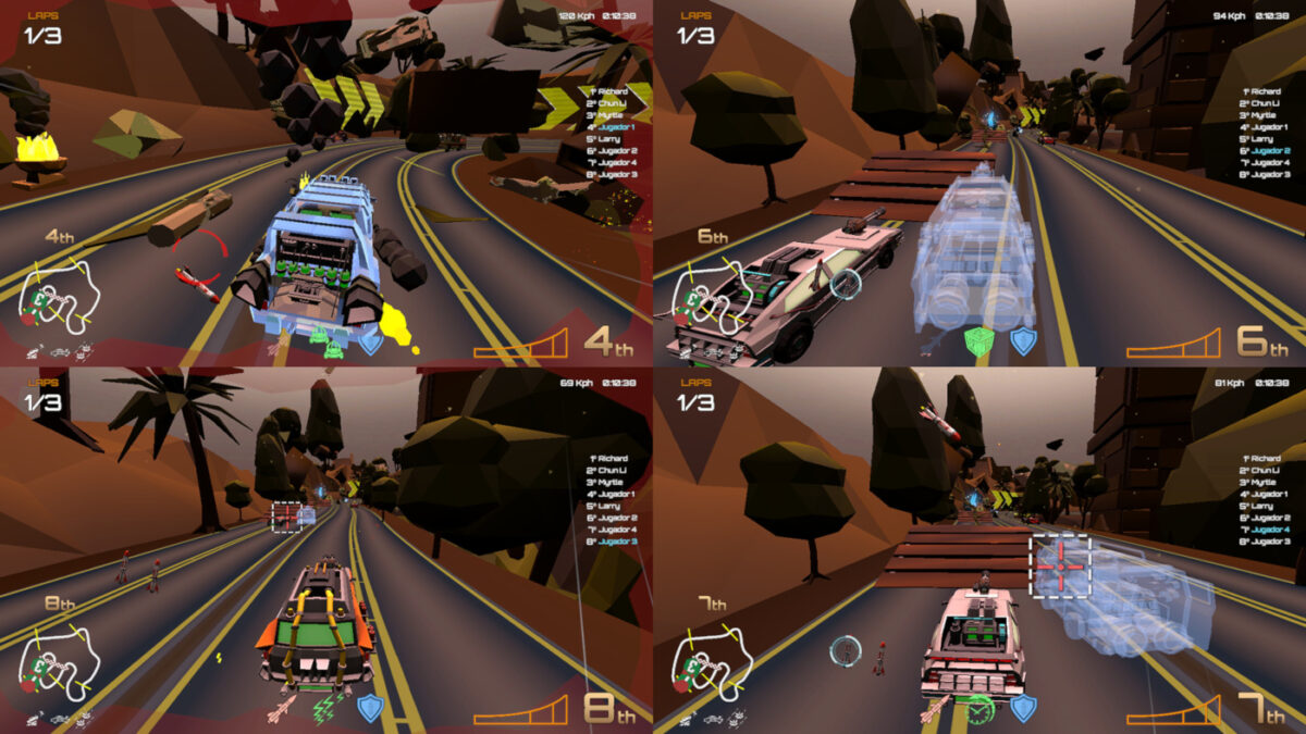 Motor Strike: Racing Rampage offers four-player local multiplayer