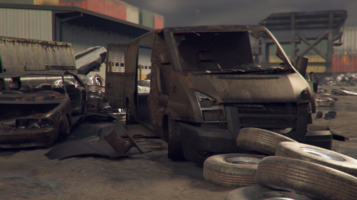 Swap the thrill of racing for dismantling an old transit van in Car Scrapyard Simulator