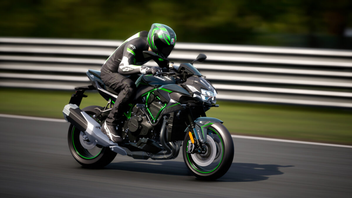 The 2020 Kawasaki Z H2 is in the RIDE 4 Extreme Performance DLC Pack
