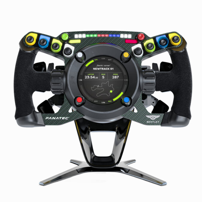 The Fanatec Podium Steering Wheel Bentley GT3 comes with a stand