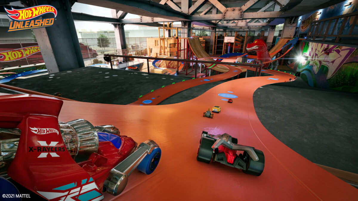 There's plenty of room to create your own tracks in the Hot Wheels Unleashed Skatepark environment